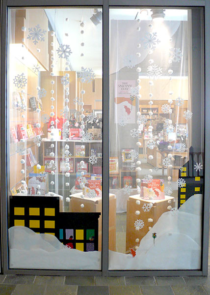 Snowy Day Window Display at Audrey's Museum Store